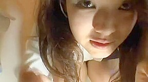 Japanese immature cute hot babe wanking off shows her snatch