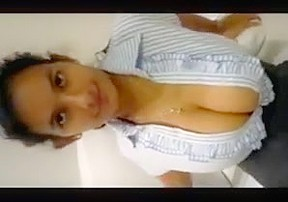 Indian girl with massive tits teases plays with...