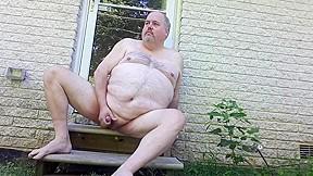 Fat jackofspades outdoor naked masturbation...