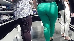 Tight green pants...