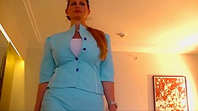 Hot Voluptuous Stewardess Gets Fucked And Plastered With Cum