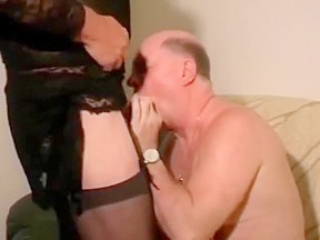 Old man with crossdressers daddy drink cum...