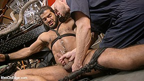 Ali liam in hot edged motorcycle garage menonedge...