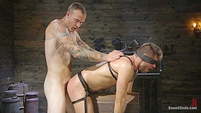 In huge dicked sub gets an intense beating...