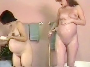 Lesbian preggo bath time