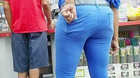 In blue pants...