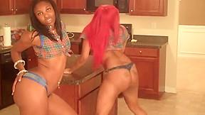 Booty black hot girls shaking pole dance...