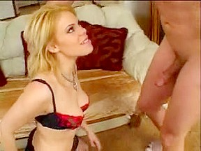 Boy-Friend receives BJ and stuffs golden-haired's booty and muff with shlong on daybed