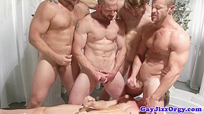 Orgy dudes jerking off at same time...