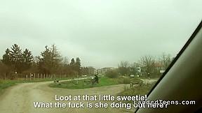 Cute stranded teen the car...