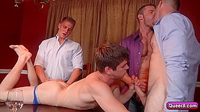 Naughty a twink and three men...