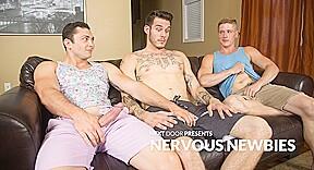 Johnny Riley Chris Blades TJ Lee in Nervous Newbies - NextDoorBuddies