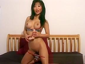 Alluring boobs julie koh drills her aching peach...