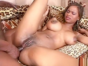 Ebony slut caramel chews dick and takes it...