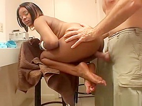 Stripper uses her feet to get cock ready...