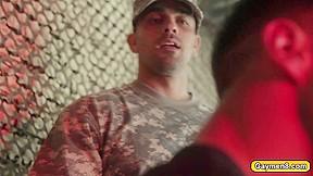 Hunk gay soldier ly fucks the prisoner in...