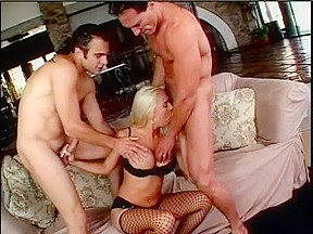 Youthful double penetration golden-haired with great pointer sisters sucks 2 weenies and acquires screwed in her a-hole