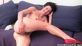 Bushy granny with large swollen vagina