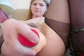 a very curly cum-hole plays with toy and receives drilled