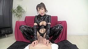 Exotic Japanese whore in Crazy Latex, Handjob JAV scene