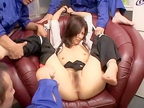 Fabulous japanese girl in group sex jav movie...
