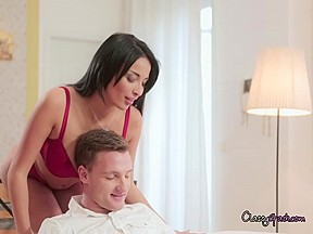 Husband entices hot wife after a valentine dinner...