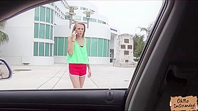 Skinny naked and rubs pussy backseat and she...