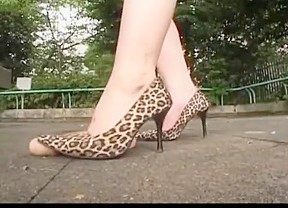 Japanese women abuse a dildo with their heels...