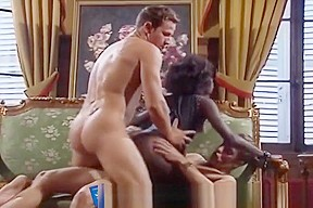 Interracial double penetration scene with whore...