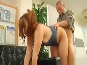 Redhead fucked doggie in threesome...