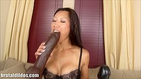 Breasty oriental rides brown toy...
