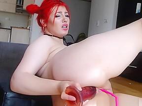 Redhead enjoy beautiful ass dildoing...