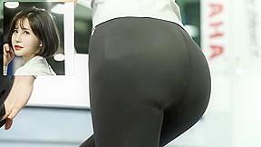 Booty model modeling leggings at korean fashion show...