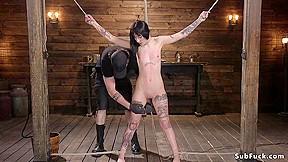 Alt dark haired slave hogtie bound