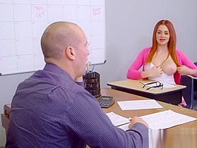 Redhead novea gropes her teacher...
