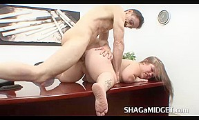 Midget Babe Fucked on Office Desk