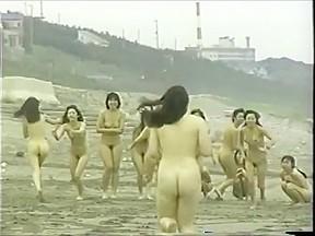 Japanese naked girls running beach...