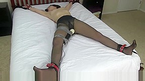 Teen Tied to Bed and Vibed in Pantyhose
