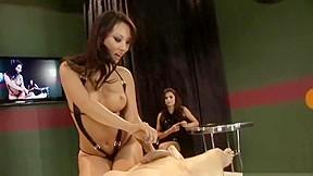 Naughty babe cheats during handjob contest...