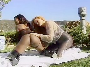 black and white lesbians milfs with big boobs play outdoor