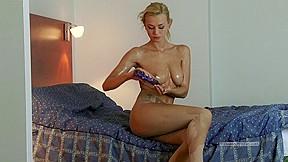 Elegant blond in oily hose