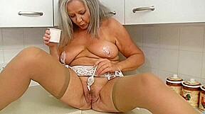 Concupiscent grandma in kitchen