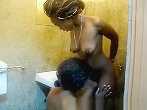 Lesbian eats shower...