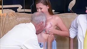 Teen swallowing cocks of couple of elderly grandpas...