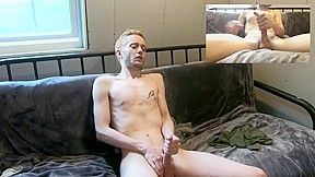 Teen jerking on couch close up pov overlay...