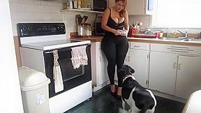 Spandex milf in the kitchen...