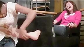 Hot brunette ticklish in nylons and stocks...