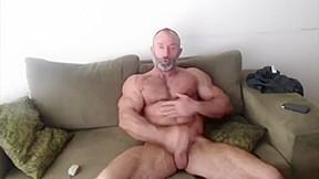 Old muscle huge biceps jerking off...