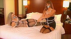 Self bondage tape gag lesbian makeout session...