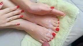 Feet get sprayed with cum...